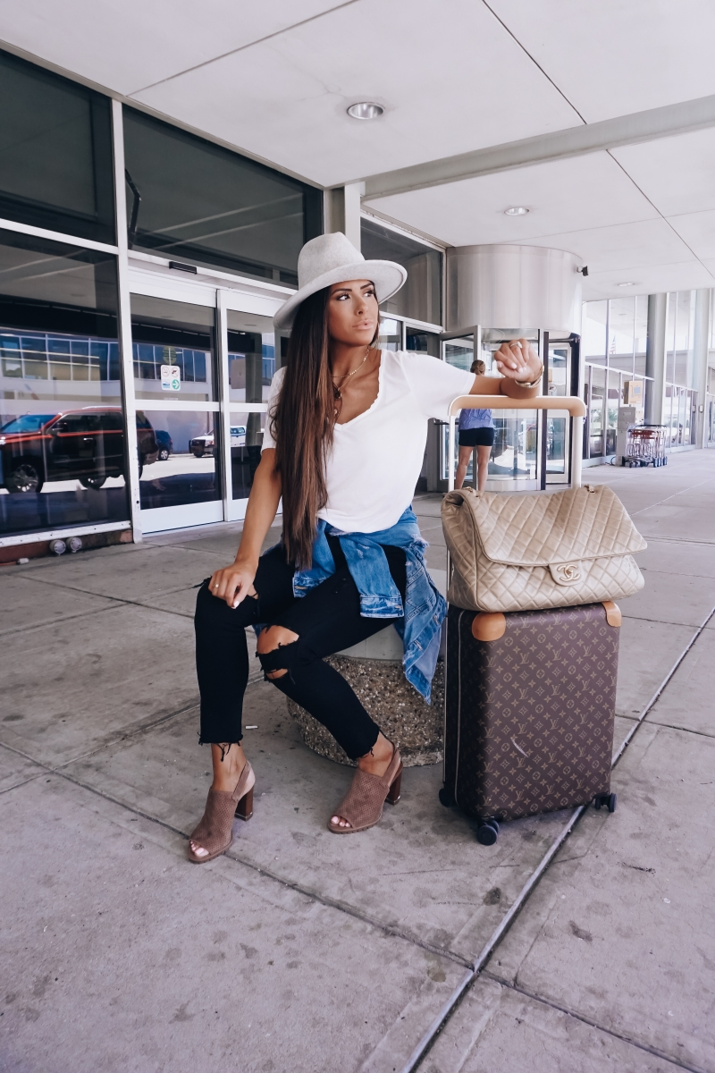 cute airplane travel outfit, airplane travel outfit idea, pinterest airplane travel outfit idea, emily ann gemma, chanel XXL airlines bag, Louis vuittton horizon 55 carry on, lack of color mack hat