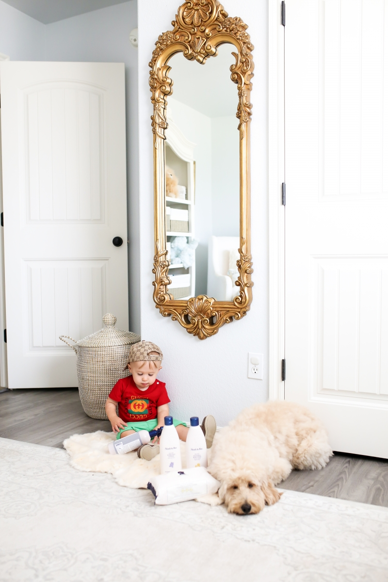 Golden doodle puppy and baby photos, mini golden doodle and baby pictures, Baby Boy Nursery Pinterest, Nordstrom Anniversary Sale 2018 best baby products, baby boy fashion instagram, Cute baby boy fashion, baby boy gucci outfits, baby boy gucci baseball cap