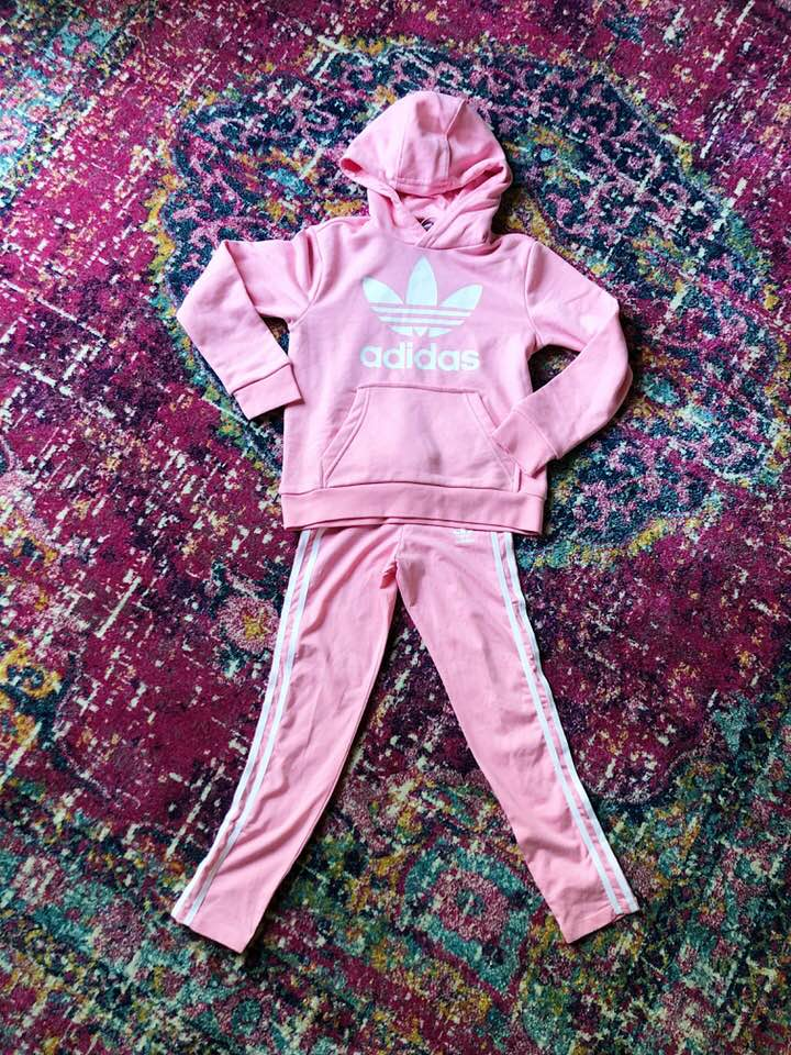 best #nsale kids outfit, cute girl fashion adidas, emily ann gemma6 | Cute Baby Boy Outfit by popular US fashion blog, The Sweetest Thing: image of a Nordstrom Trefoil Logo Hoodie ADIDAS and Nordstrom Leggings ADIDAS.
