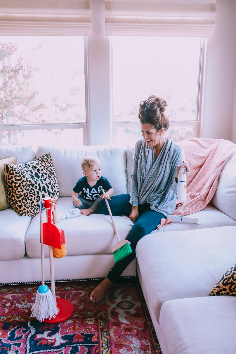 melissa and doug kids broom and mop, febreze air and fabric mist, nordstrom anniversary sale 2018 bobeau cardigan, best black leggings #NSALE zella, pottery barn couch, little design co pillow