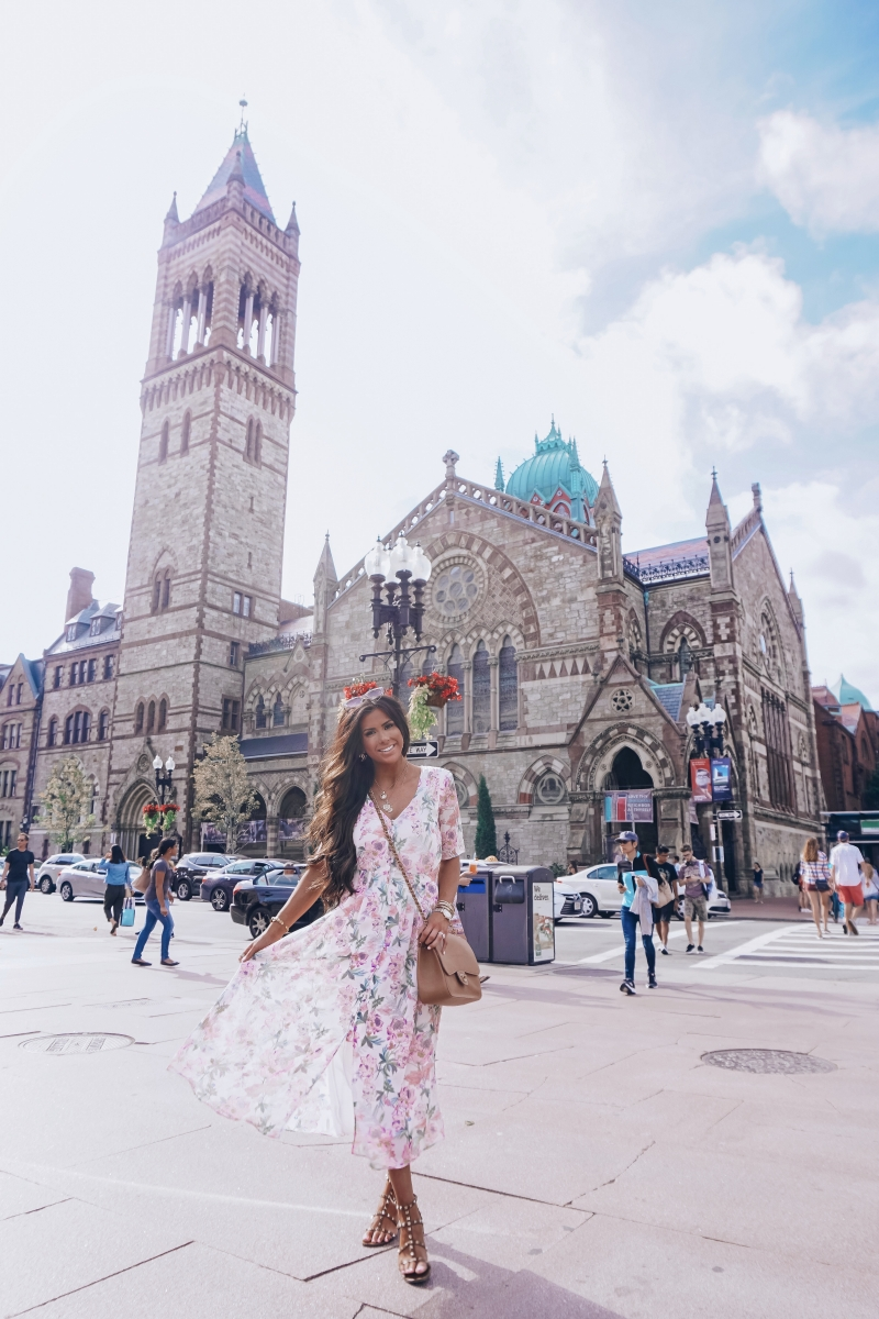 boston fashion blogger, emily ann gemma, floral maxi dresses H&M, summer outfit idea dresses 2018 pinterest,