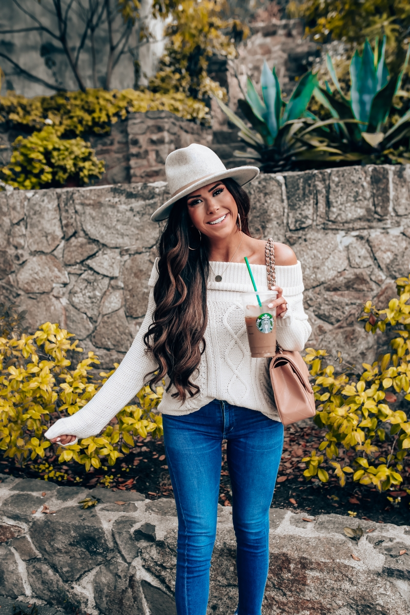 fall fashion 2018 pinterest, fall fashion outfit ideas pinterest 2018, emily ann gemma blog, chanel classic flap jumbo beige, cable knit off the shoulder sweater, COH rocket jeans, lack of color Mack Hat, Billabong off the shoulder sweater