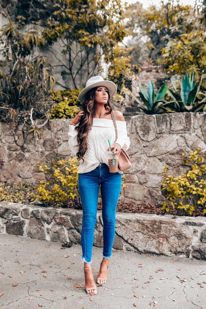 fall fashion 2018 pinterest, fall fashion outfit ideas pinterest 2018, emily ann gemma blog, chanel classic flap jumbo beige, cable knit off the shoulder sweater, COH rocket jeans, lack of color Mack Hat, Billabong off the shoulder sweater, hair by chrissy brunette extensions