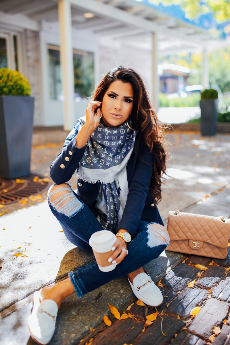 how to style a blazer casually, louis vuitton reversible scarf fall outfit idea, michele watch gold, fall fashion pinterest 2018, emily ann gemma blog, balmain blazer dupe, chanel beige classic jumbo, louis vuitton scarf outfit idea, fall outfit ideas 2018, aspen travel blog