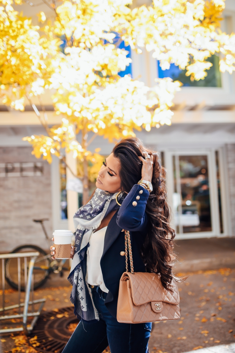 louis vuitton reversible scarf fall outfit idea, michele watch gold, fall fashion pinterest 2018, emily ann gemma blog, balmain blazer dupe, chanel beige classic jumbo, louis vuitton scarf outfit idea, fall outfit ideas 2018, aspen travel blog