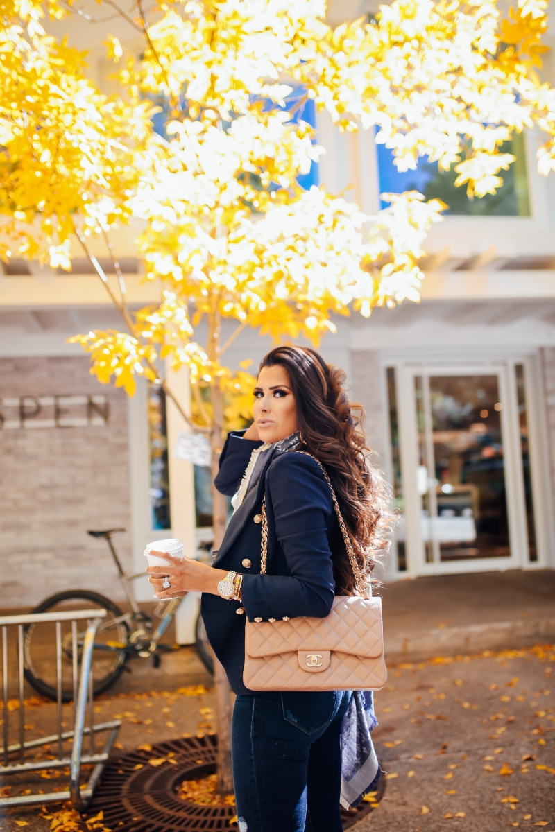 hair by chrissy hand tied extensions, louis vuitton reversible scarf fall outfit idea, michele watch gold, fall fashion pinterest 2018, emily ann gemma blog, balmain blazer dupe, chanel beige classic jumbo, louis vuitton scarf outfit idea, fall outfit ideas 2018, aspen travel blog