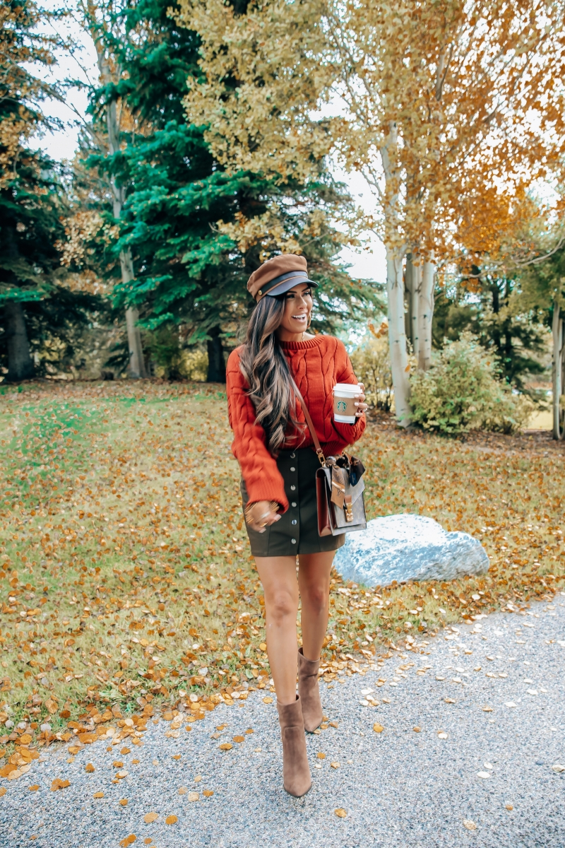 fall fashion pinterest 2018, express fall outfit 2018, emily ann gemma, cute baker boy hat outfit, marc fisher booties, travel and fashion blogger