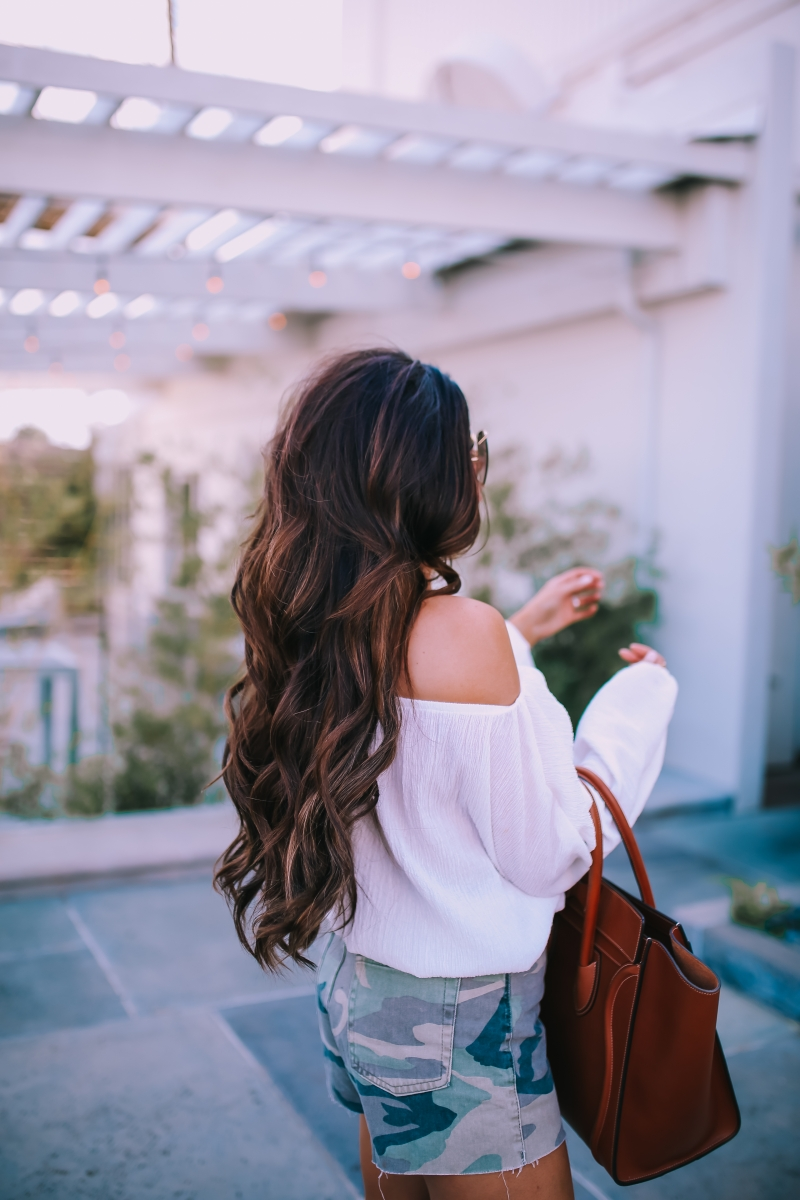 brunette balayage, hair by chrissy habit salon extensions, tan celine mini luggage, celine alphabet letter dupe necklace lookalike, emily ann gemma blog, chloe oversized butterfly sunglasses, topshop camo shorts, fall fashion pinterest 2018-8