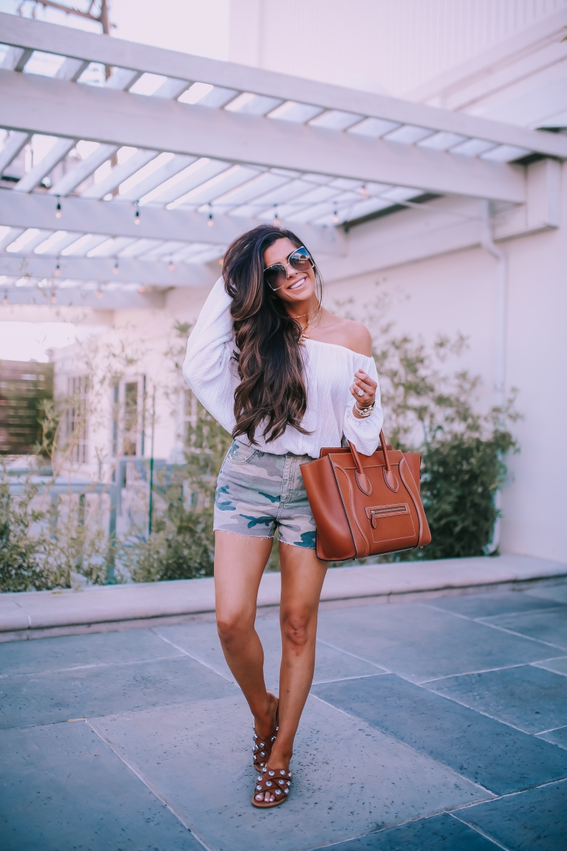 tan celine mini luggage, celine alphabet letter dupe necklace lookalike, emily ann gemma blog, chloe oversized butterfly sunglasses, topshop camo shorts, fall fashion pinterest 2018
