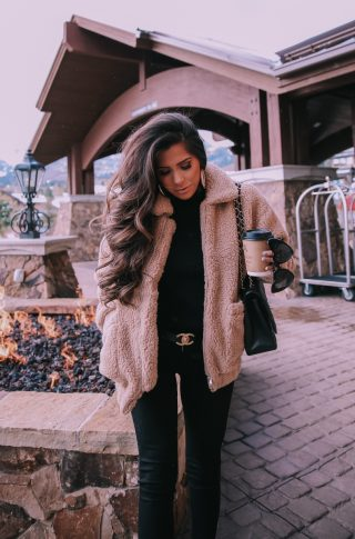 Fall fashion pinterest 2018, teddy bear coat outfit pinterest 2018, IAMGIA teddy coat, chanel belt outfit, park city travel fashion blogger, emily gemma blog, chanel classic black maxi-3