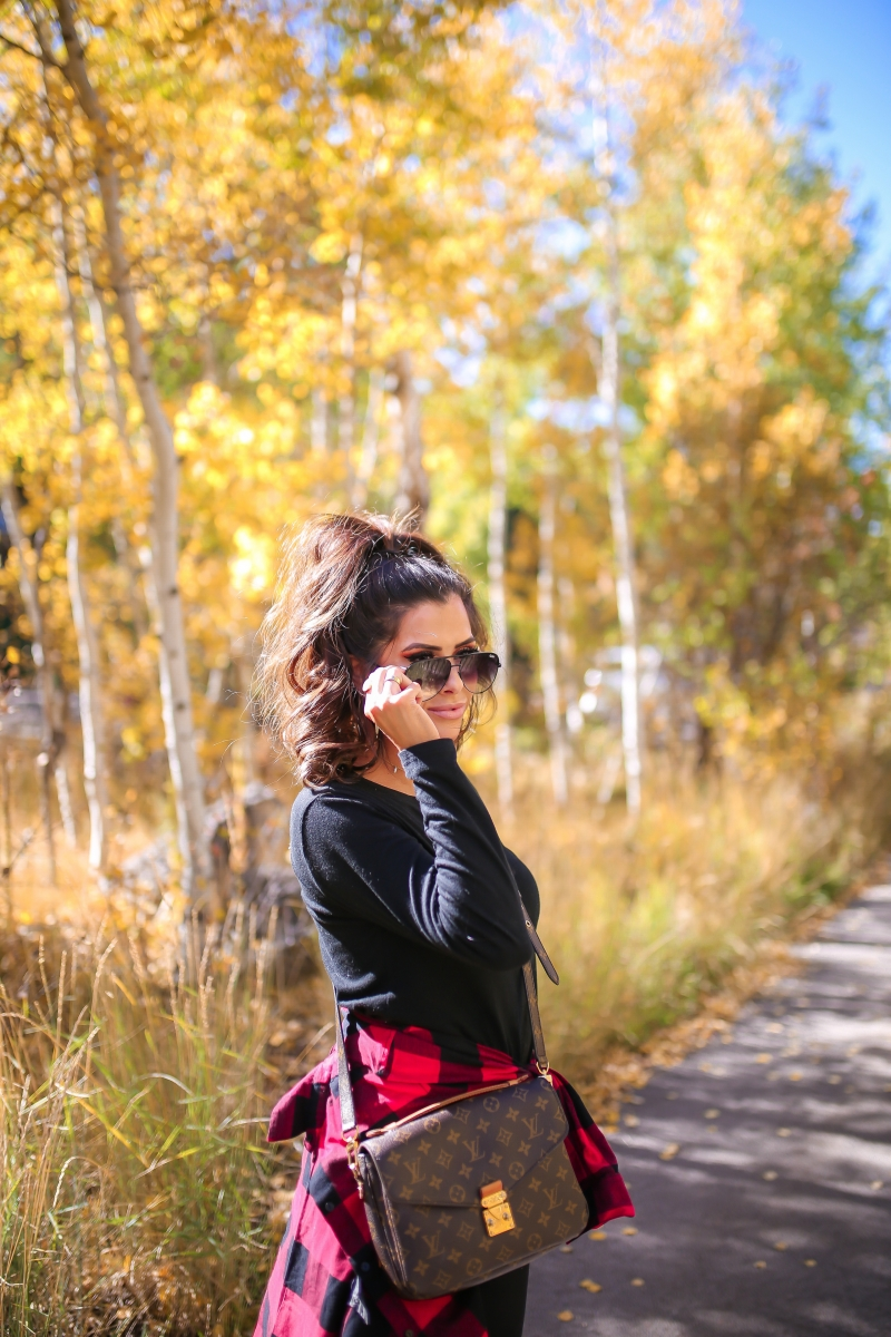 fall fashion pinterest 2018, cute casual fall outfit with leggings and plaid pinterest 2018, Louis Vuitton pochette metis handbang, quay high key fades, emily ann gemma, Chanel espadrille flats, mother son matching outfit fall Pinterest 2018