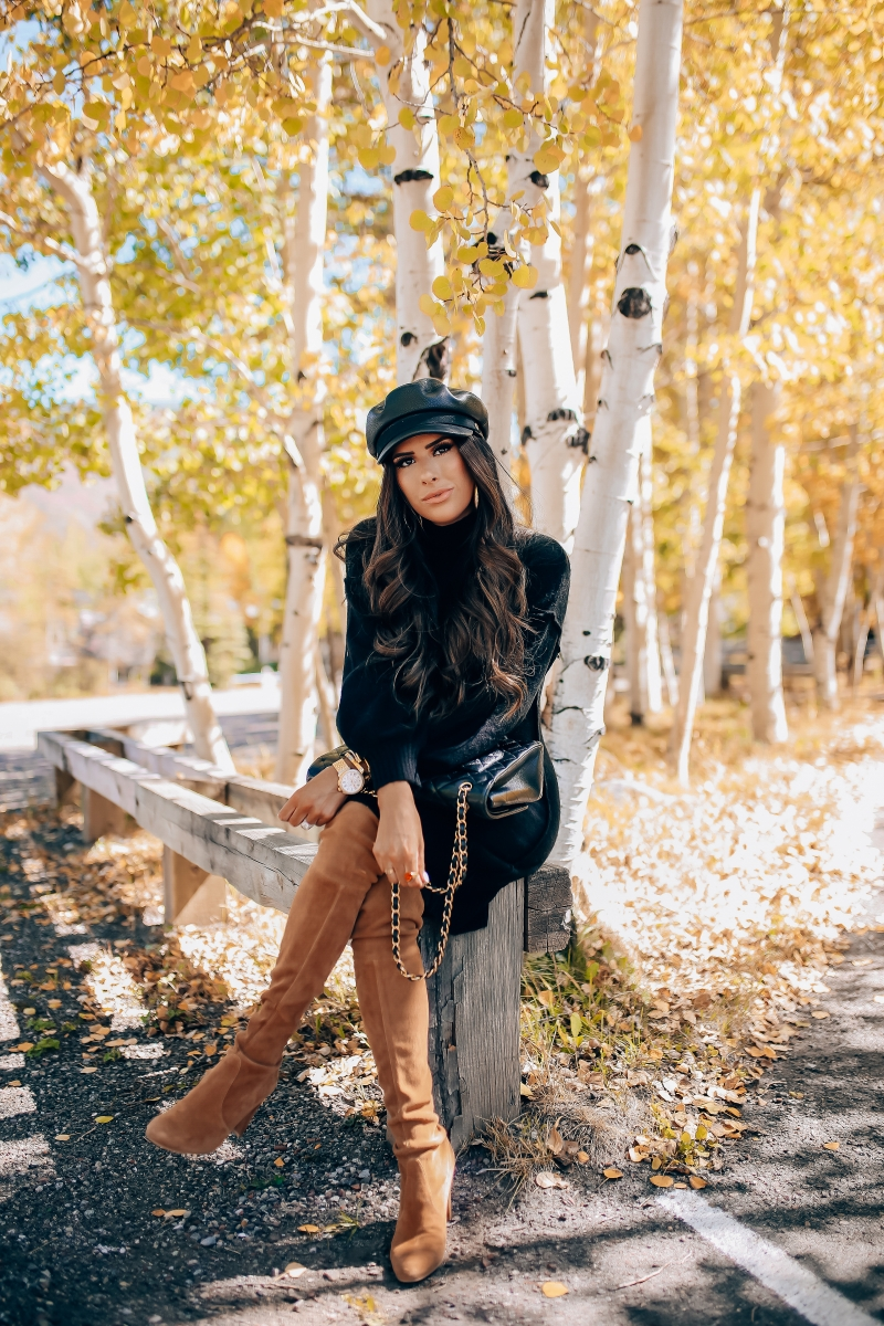 Stuart Weitzman Hiline over the knee boot in tan camel, fall fashion pinterest 2018, stuart weitzman over the knee tan boots, chanel maxi classic black, brixton faux leather baker boy cap, fall outfit with over the knee boots-4