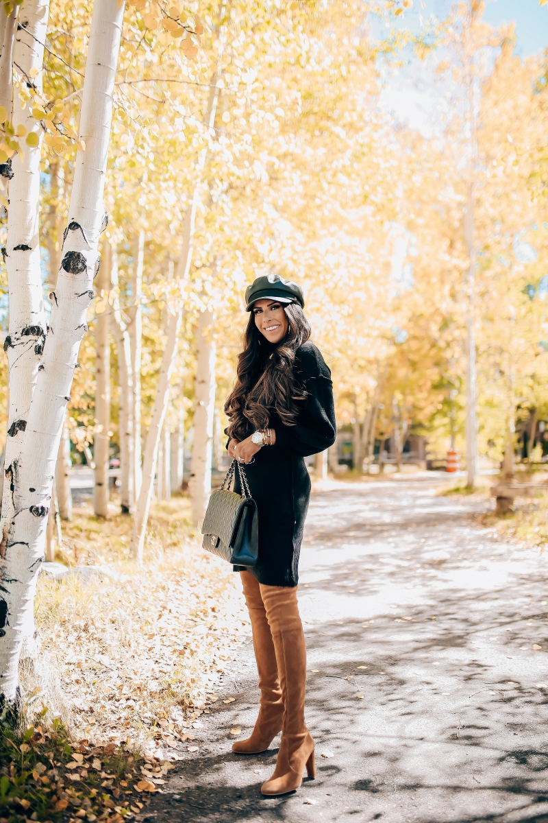 fall fashion pinterest 2018, stuart weitzman over the knee tan boots, chanel maxi classic black, brixton faux leather baker boy cap, fall outfit with over the knee boots-4