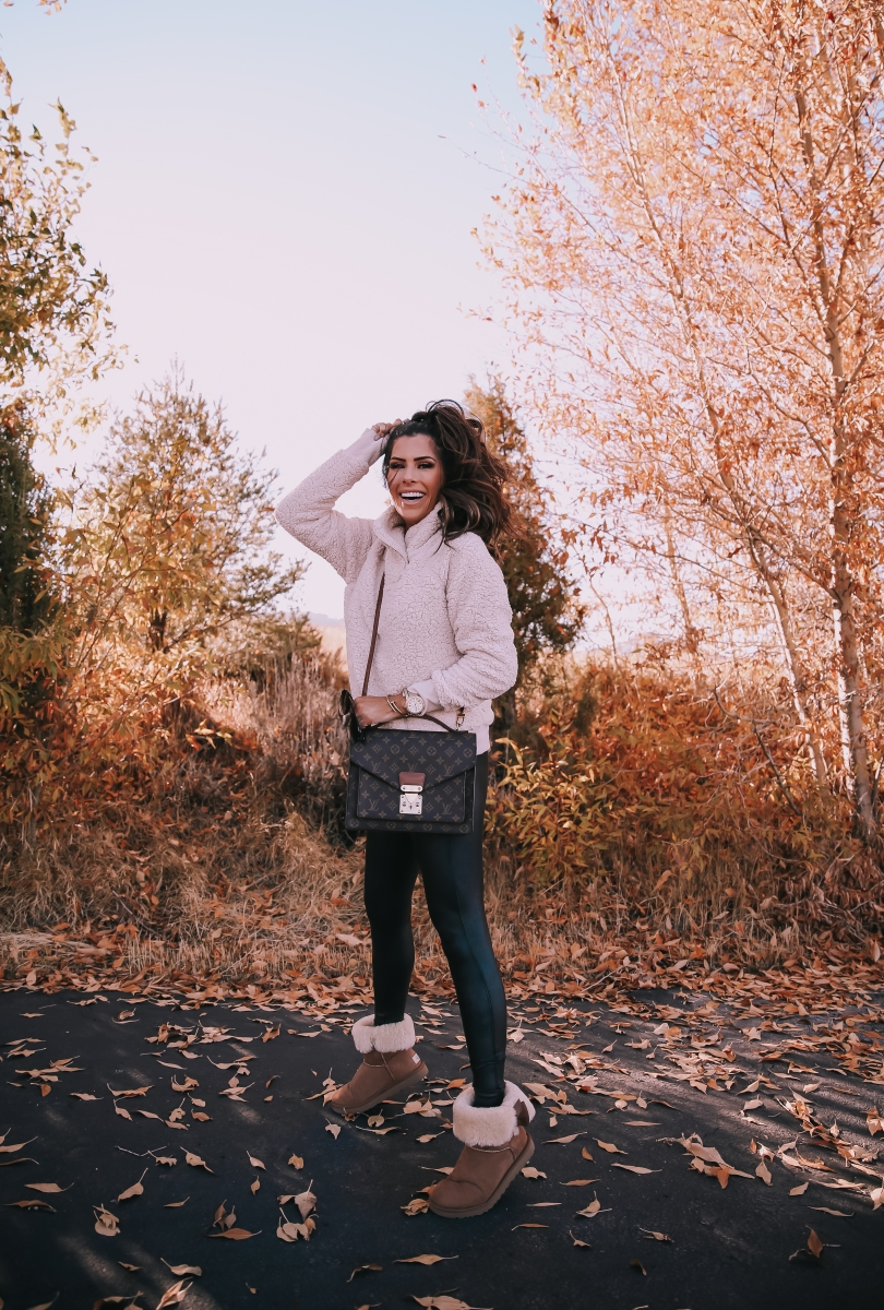 zella sherpa pullover, spanx faux leather leggings review, ugg boots daelynn review, emily ann gemma, park city fashion outfit fall, fall outfit idea pinterest 2018-3