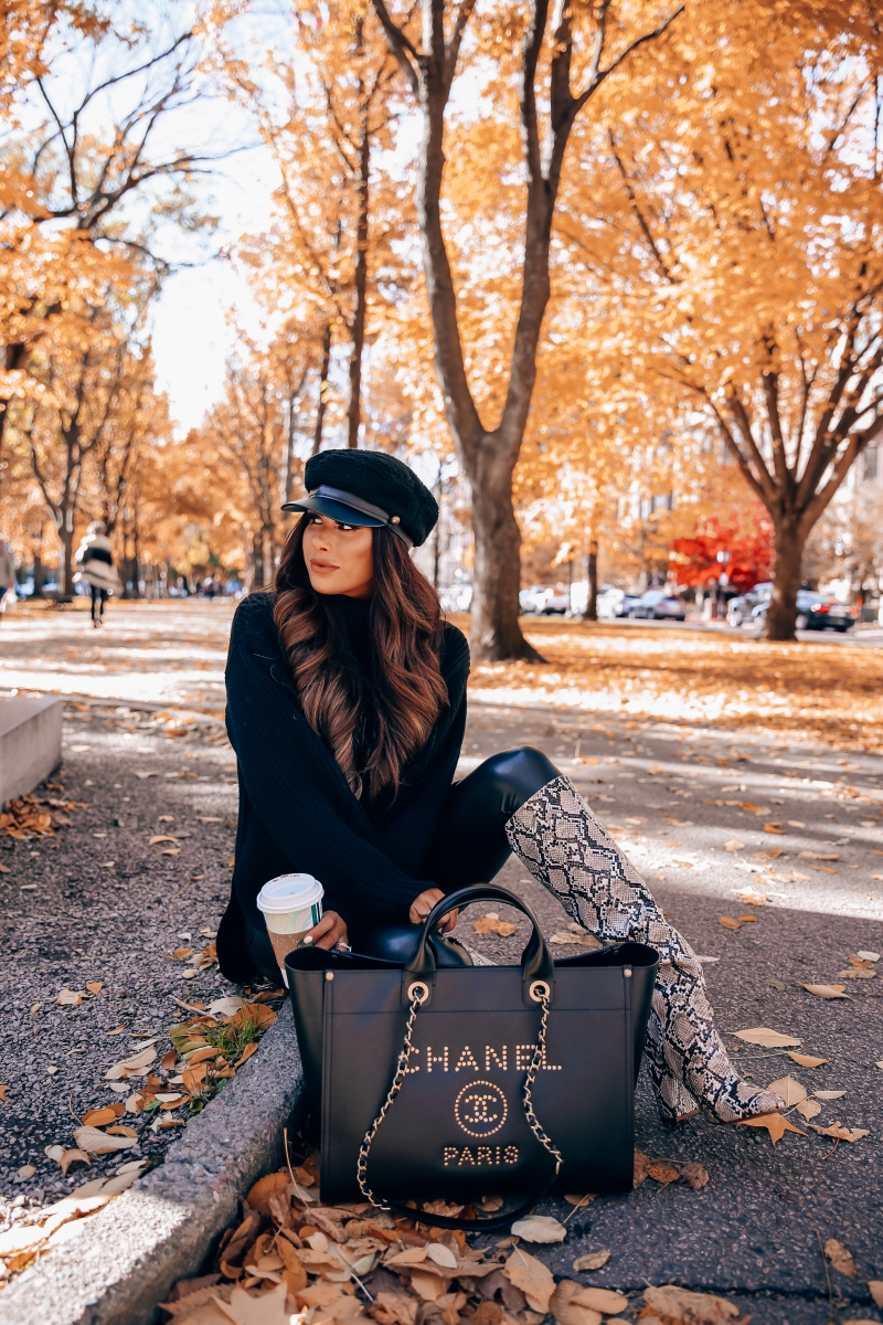 Fall fashion pinterest 2018, cute fall outfit idea leather leggings pinterest 2018, Zara snakeskin boots 2018, Chanel leather deauville gold hardware large-6