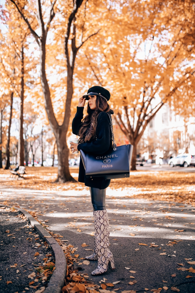 Fall fashion pinterest 2018, cute fall outfit idea leather leggings pinterest 2018, Zara snakeskin boots 2018, Chanel leather deauville gold hardware large1