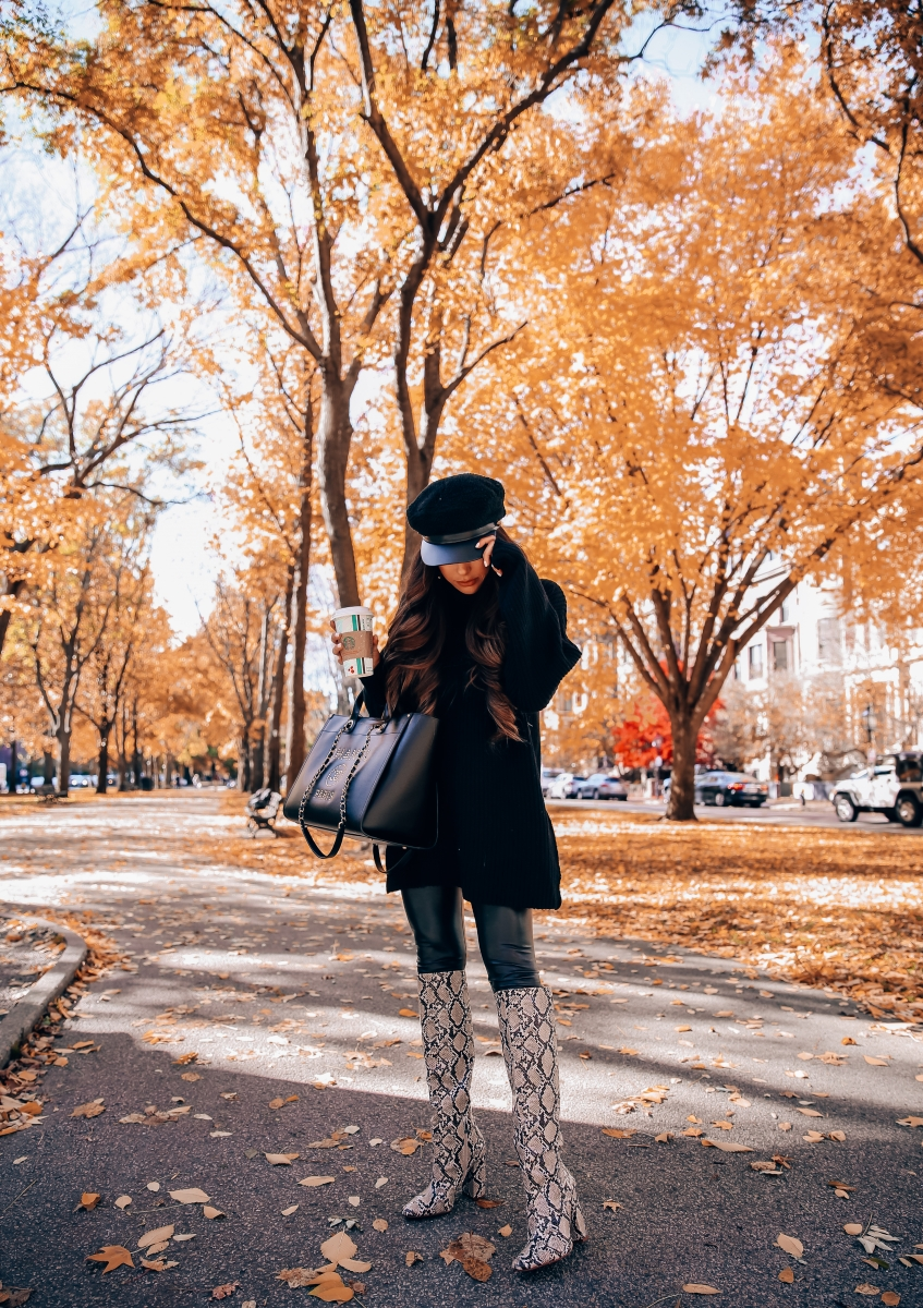 Fall fashion pinterest 2018, cute fall outfit idea leather leggings pinterest 2018, oversized sweater with leggings cute outfit, Zara snakeskin boots 2018