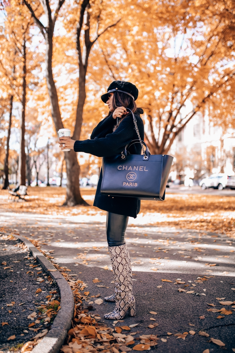 cute fashionable fall outfit leather leggings fall pinterest 2018, Black chanel Deauville leather gold hard ware large 2018, cabbie cap, Zara snakeskin boots fall 2018, popular fashion bloggers, Emily ann gemma, the sweetest thing