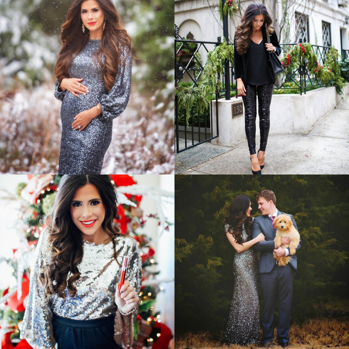 Sequin Leggings Outfit by popular US fashion blog, The Sweetest Thing: collage image of a woman wearing various sequin outfits.