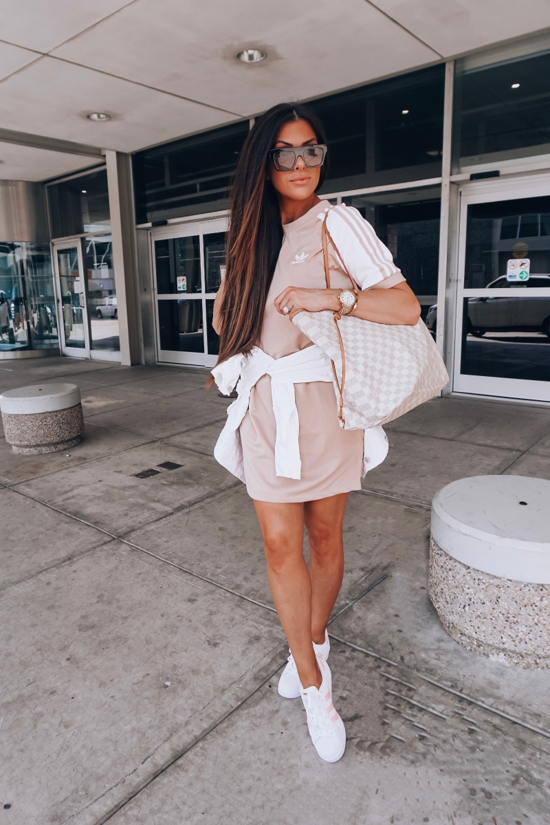 cute airport outfit idea fashion pinterest 2018, adidas dress outfit travel idea, airport travel fashion fall