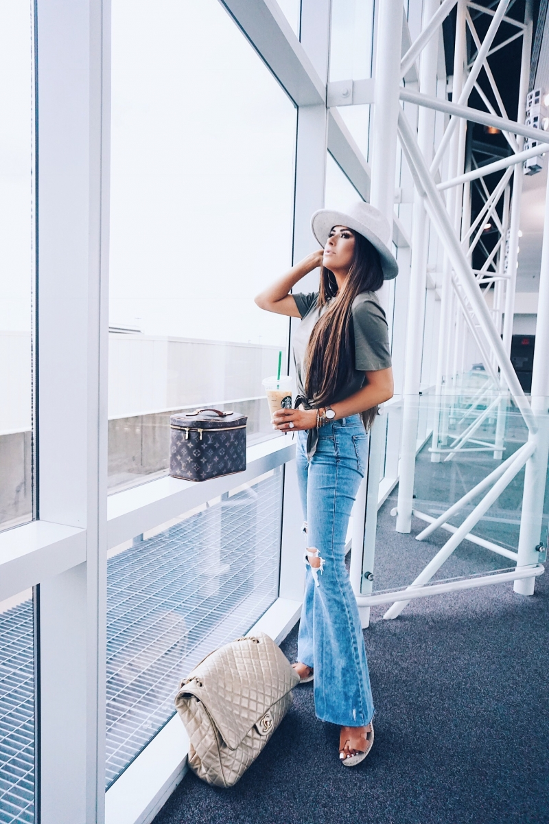 cute airport travel fashion outfit fall 2018, emily gemma travel style, stylish cute casual travel outfit idea 2018, XL chanel bag airline tote gold, express flared jeans review