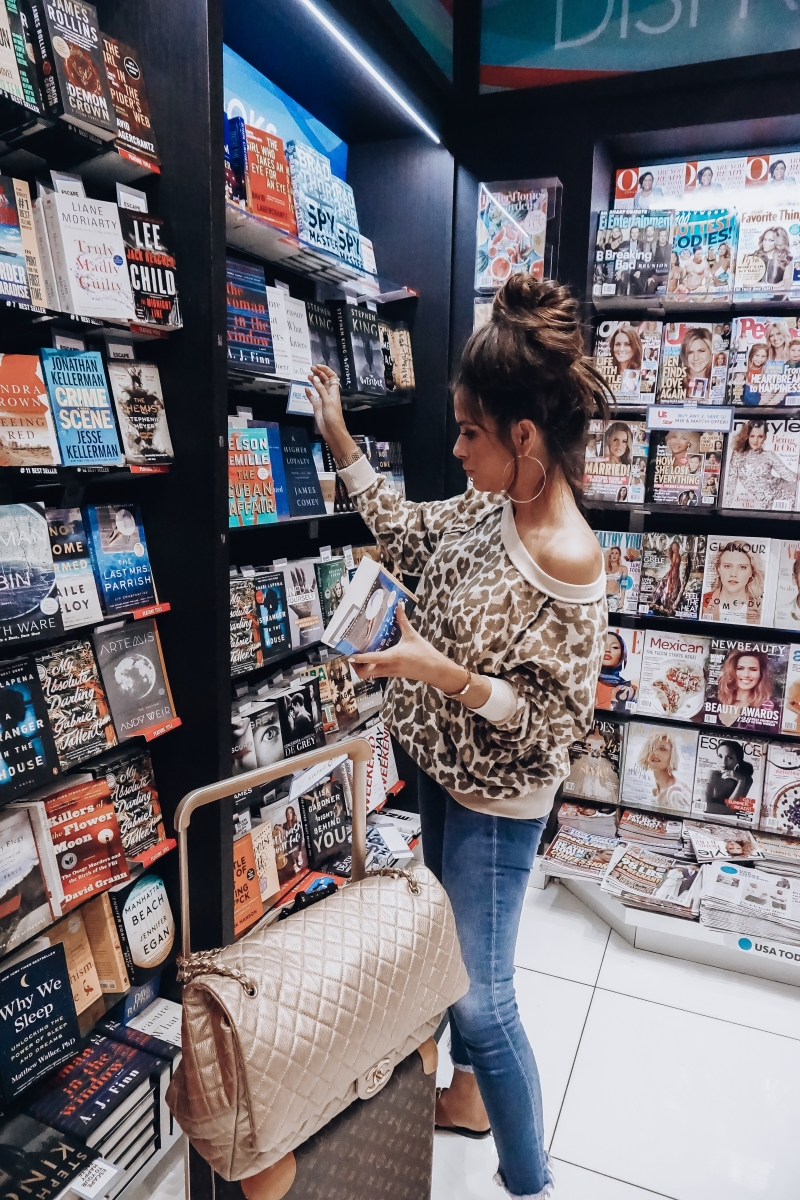 fall 2018 pinterest cute airport fashion outfit idea, cute airport travel fashion outfit fall 2018, emily gemma travel style, stylish cute casual travel outfit idea fall 2018, free people leopard oversized sweater, XXL Chanel airlines Tote gold review