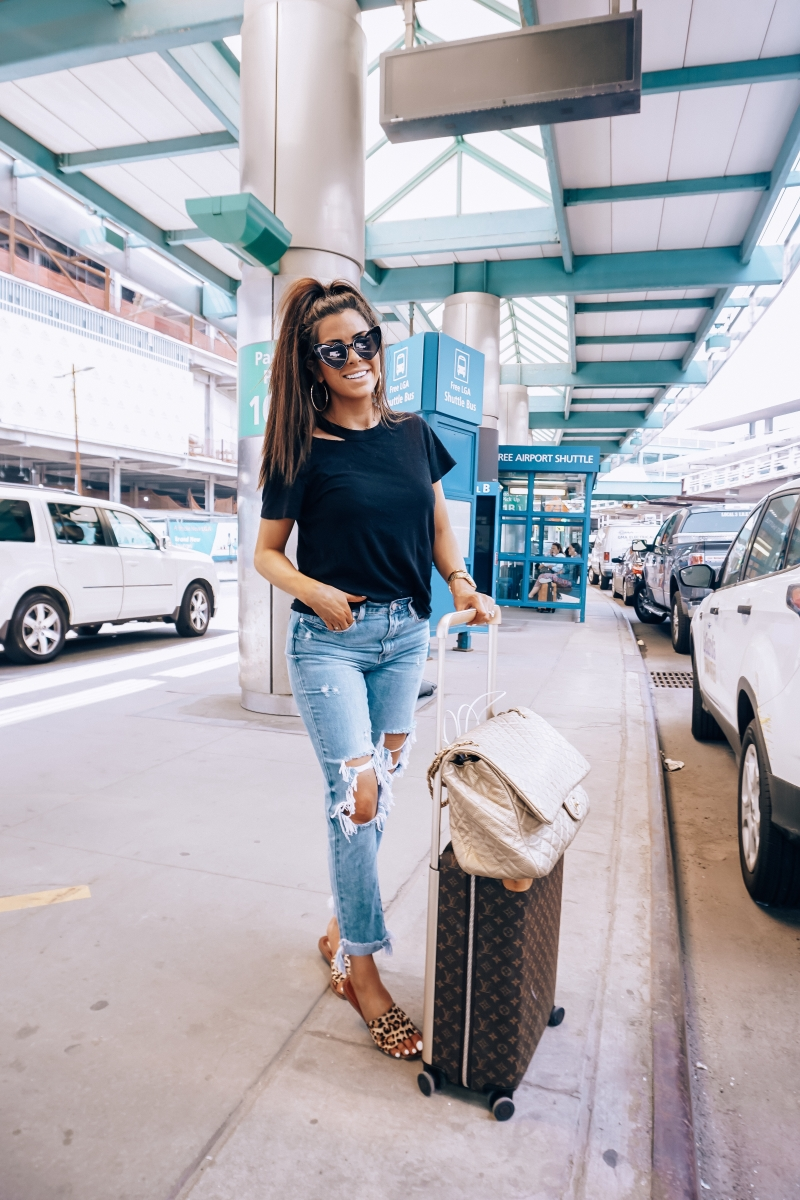 pinterest fall 2018 cute airport travel fashion outfit fall 2018, emily gemma travel style, stylish cute casual travel outfit idea 2018, louis vuitton carry on horizon, XL chanel bag airline tote gold