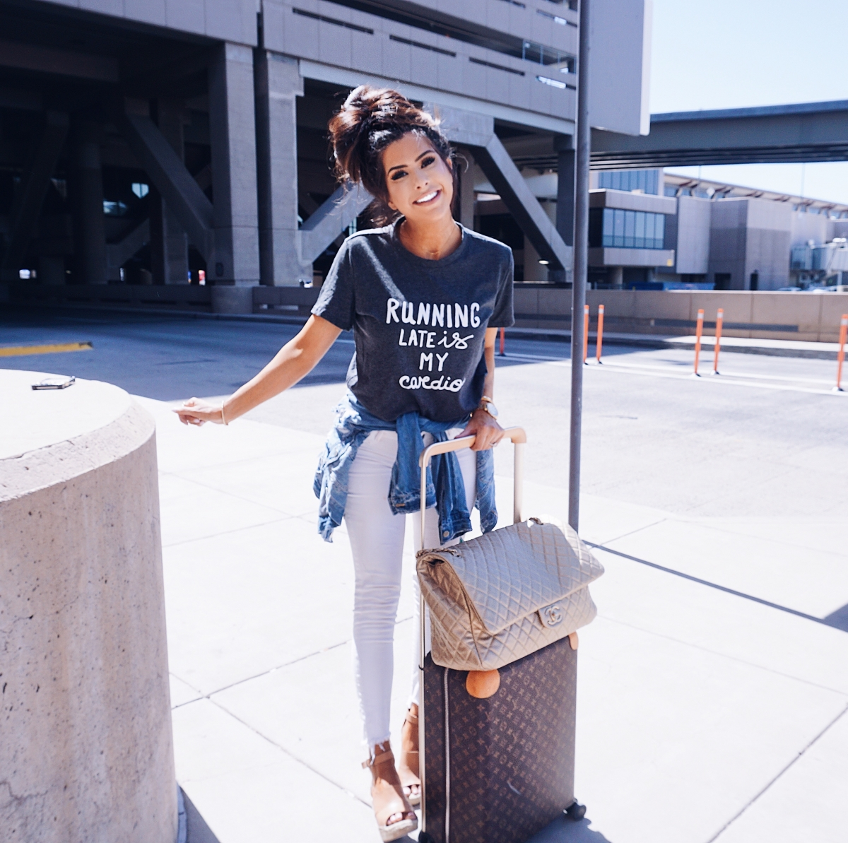 cute airport travel fashion outfit fall 2018, emily gemma travel style, stylish cute casual travel outfit idea 2018, louis vuitton horizon carry on monogram, XL chanel bag airline tote gold