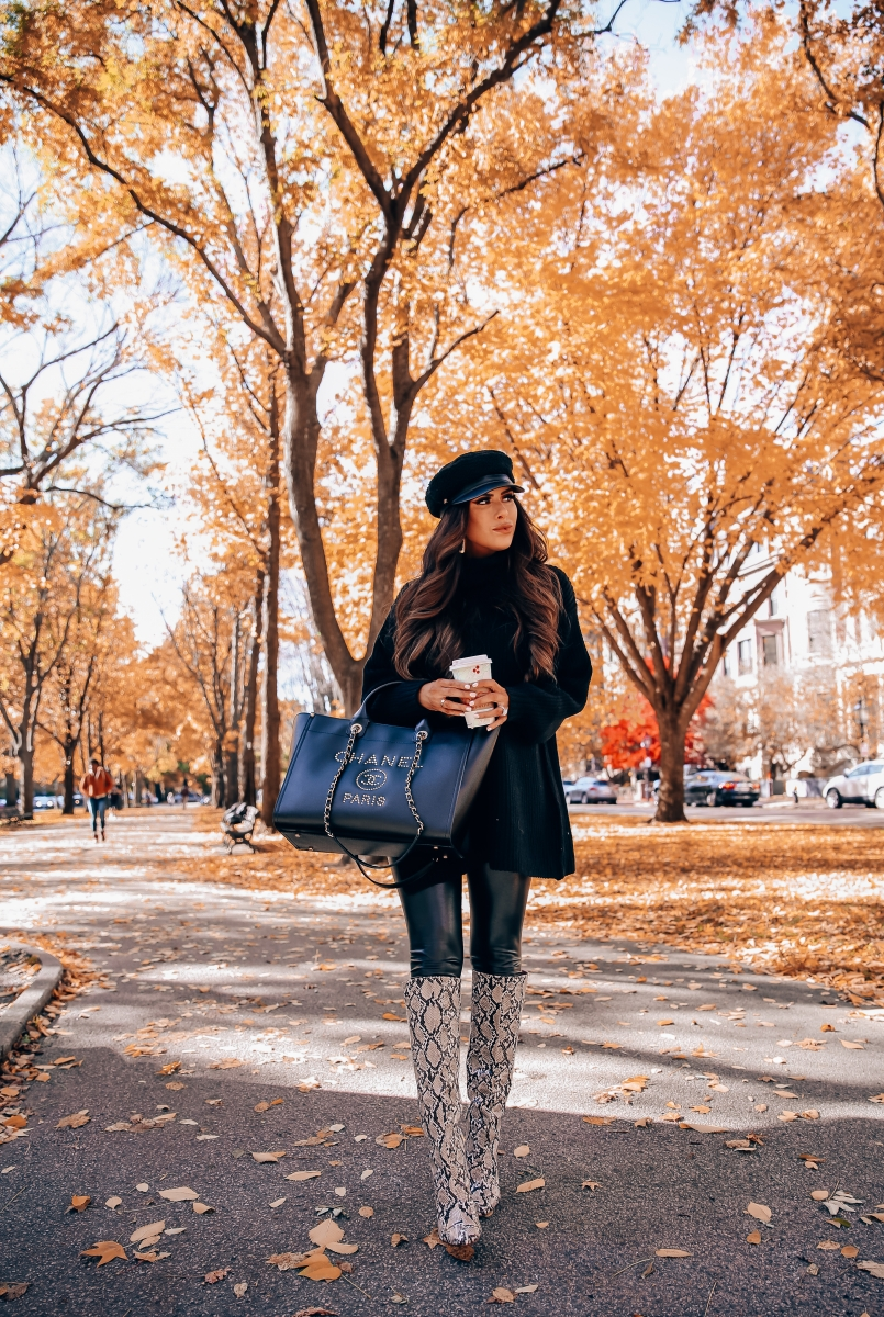 cute fall outfit idea leather leggings pinterest 2018, oversized sweater with leggings cute outfit, Zara snakeskin boots 2018, Chanel leather deauville gold hardware large-2