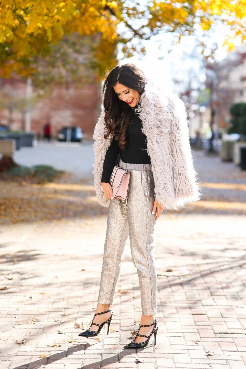 styling sequins holidays 2018, emily ann gemma, sequin pant outfit idea 2018 pinterest