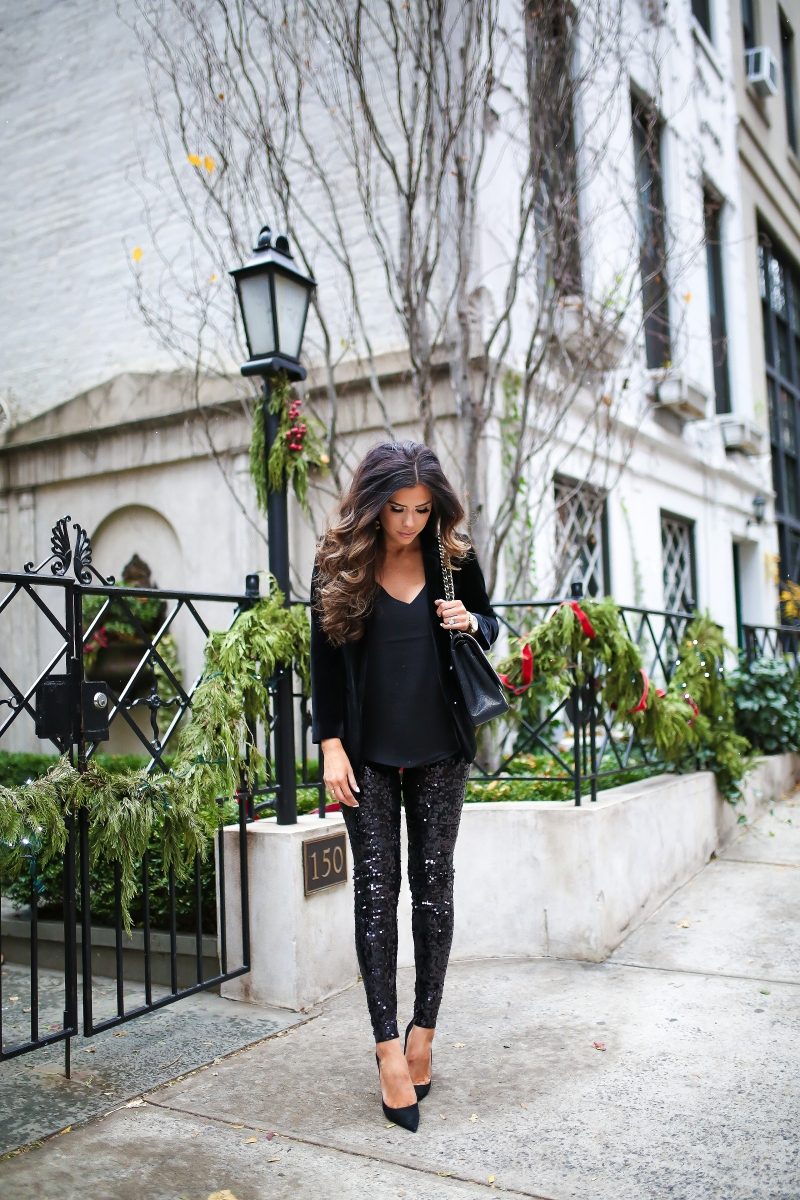velvet-blazer-outfit-idea-pinterest-sequin-leggings-outfit-pinterest-emily-ann-gemma-5 | Sequin Leggings Outfit by popular US fashion blog, The Sweetest Thing: image of a woman wearing black sequin leggings, a black velvet top and black heels.