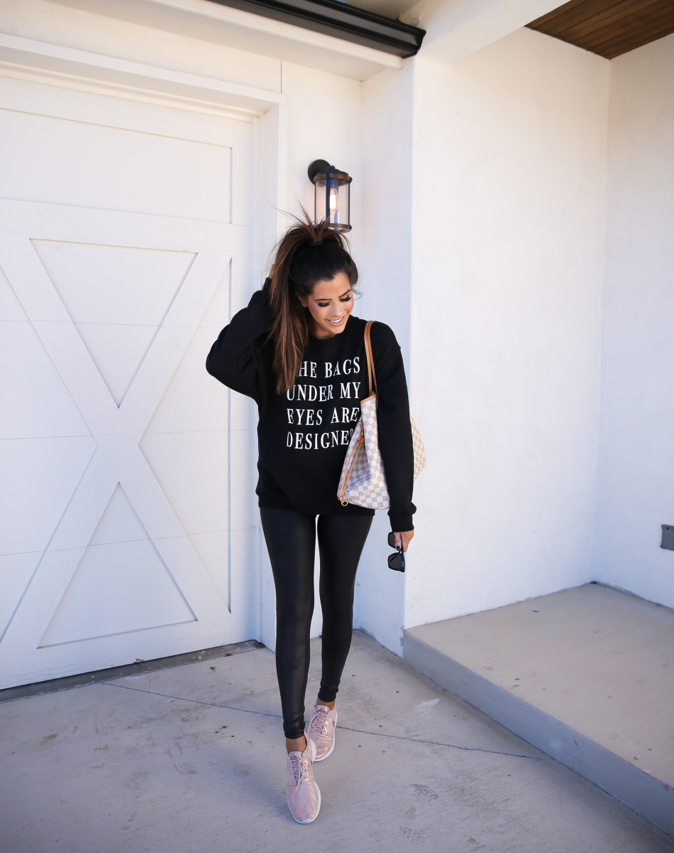 bags under my eyes are designer sweatshirt, jaclyn hill quay sunglasses, emily ann gemma, rose gold sparkly nike roshe, spanx faux leather leggings-2