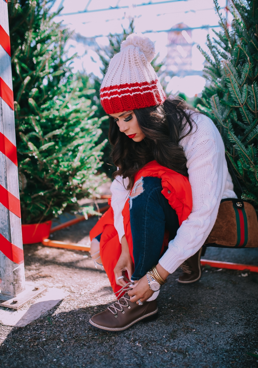 cute christmas outfit sweater & boots pinterest 2018, cute winter fashion 2018 2019, gucci ophelia bag, red puffer cropped jacket, emily ann gemma