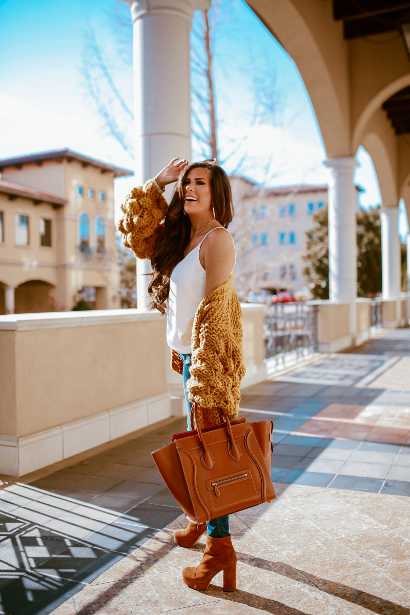 bobble chunky knit cardigan, knitted cardigan pom pom sleeve, cute fall fashion outfits with knitted cardigans pinterest 2018, emily ann gemma, tan celine mini luggage, platform bootie tan suede-2