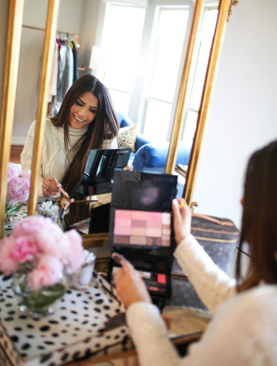 Mary Kay Reviews by popular US beauty blog, The Sweetest Thing: image of a woman using a Mary Kay makeup pallet.