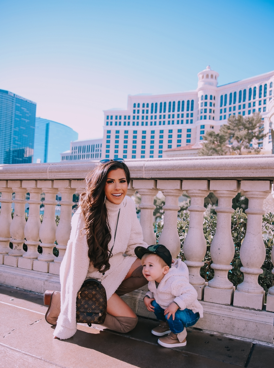 sherpa dress missguided, dress with over the knee boots outfit pinterest, las vegas fashion blogger, travel blogger, emily ann gemma, toddler boy fashion fall winter pinterest 2019-8