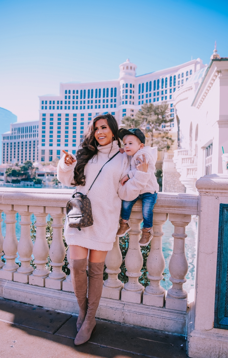 sherpa dress missguided, dress with over the knee boots outfit pinterest, las vegas fashion blogger, travel blogger, emily ann gemma, toddler boy fashion fall winter pinterest 2019, taupe over the knee boots, winter fashion 2019 pinterest womens dress