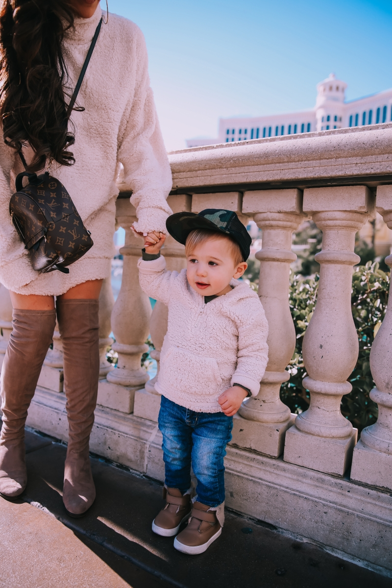 baby boy fashion fall winter pinterest 2019, baby boy toddler fashion, freshly picked booties toddler boy, sherpa dress missguided, dress with over the knee boots outfit pinterest, las vegas fashion blogger, travel blogger, emily ann gemma, toddler boy fashion fall winter pinterest 2019, taupe over the knee boots, winter fashion 2019 pinterest womens dress