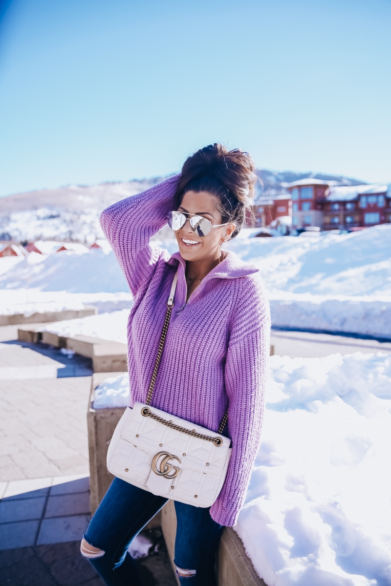 cute outfit pinterest snow 2019, park city travel review fashion blog, jaclyn hill quay aviator sunglasses