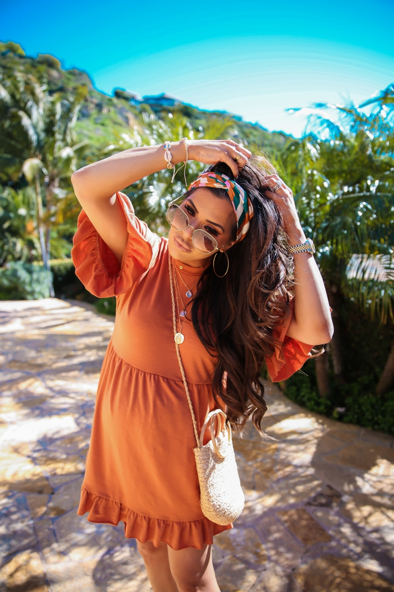 spring fashion 2019 pinterest, Asos ruffle dress, asos maternity dress, gucci round sunglasses gold and brown, emily ann gemma, cute pregnancy fashion outfits spring