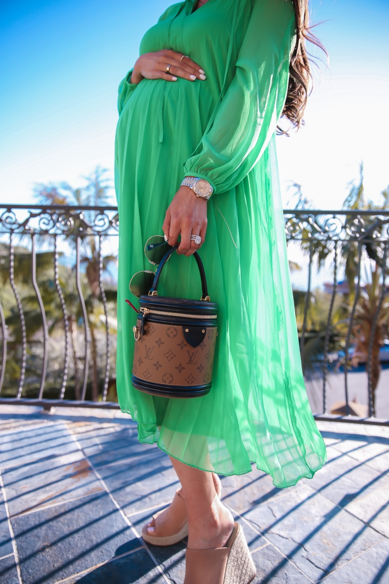 spring fashion 2019 pinterest, asos green pleated midi dress, cute pregnancy outfit spring 2019 pinterest fashion blogger, emily gemma, louis vuitton cannes, datejust rolex 36, laguna beach fashion blogger, spring fashion 2019