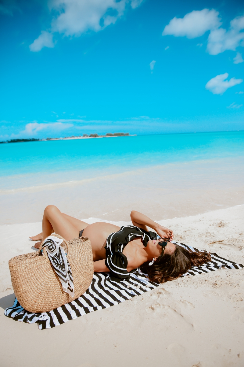 amazon swimsuit reviews, ruffle black and white swimsuit amazon, meghan markle le spec black sunglasses, bahamas sandals, pinterest summer fashion 2019