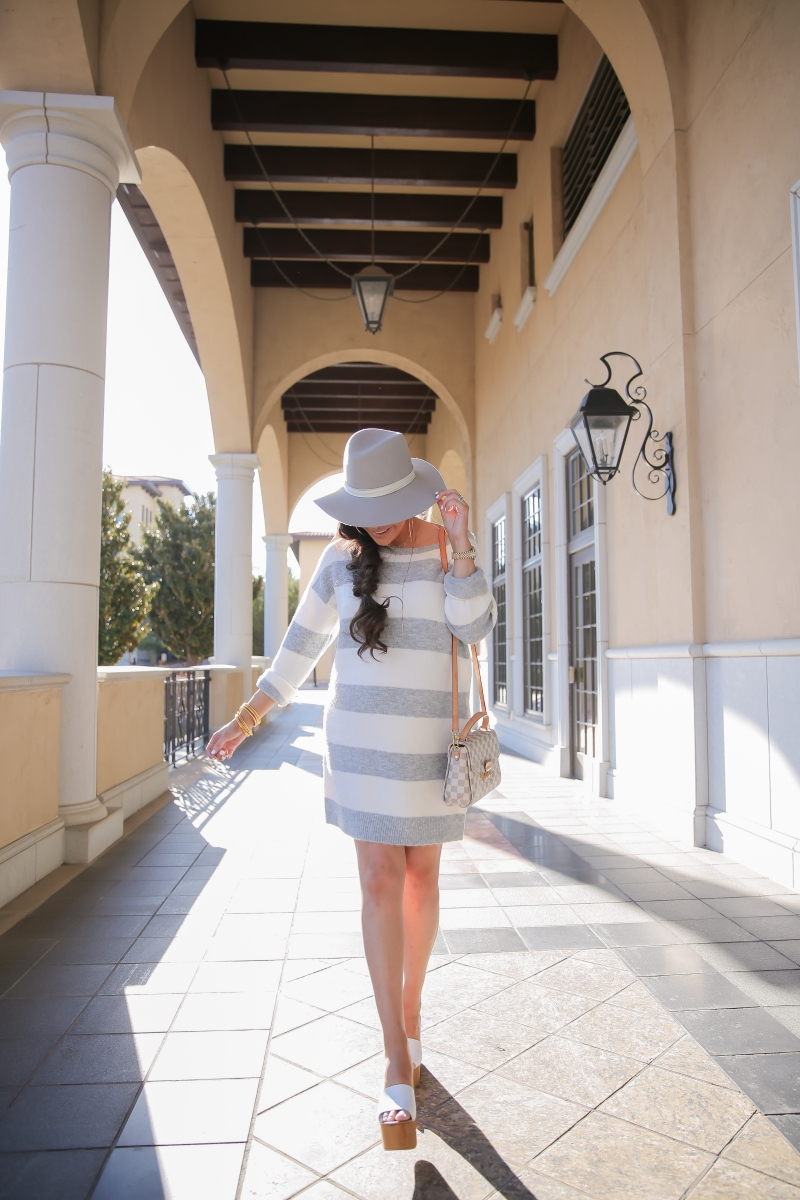 spring fashion outfit pinterest 2019, cute pregnancy outfits spring, louis vuitton croisette Damier Azur, janessa leone hat, emily ann gemma, cute spring fashion 2019, striped sweater dress spring, express spring fashion outfits 2019, white steve madden mules, the sweetest thing blog, popular fashion bloggers, top fashion bloggers, necklace gold with letters on it, The Sis Kiss, Buddha Girl bracelet replica dupe, hair by chrissy extensions