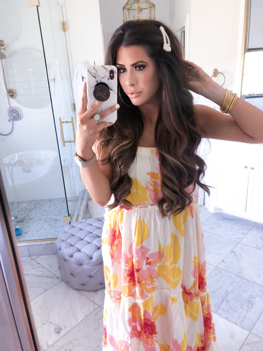 free people floral maxi dress, pearl hair clip, Louis Vuitton Popsocket, Emily ann gemma instagram, cute spring fashion outfits pinterest 2019, revolve dresses
