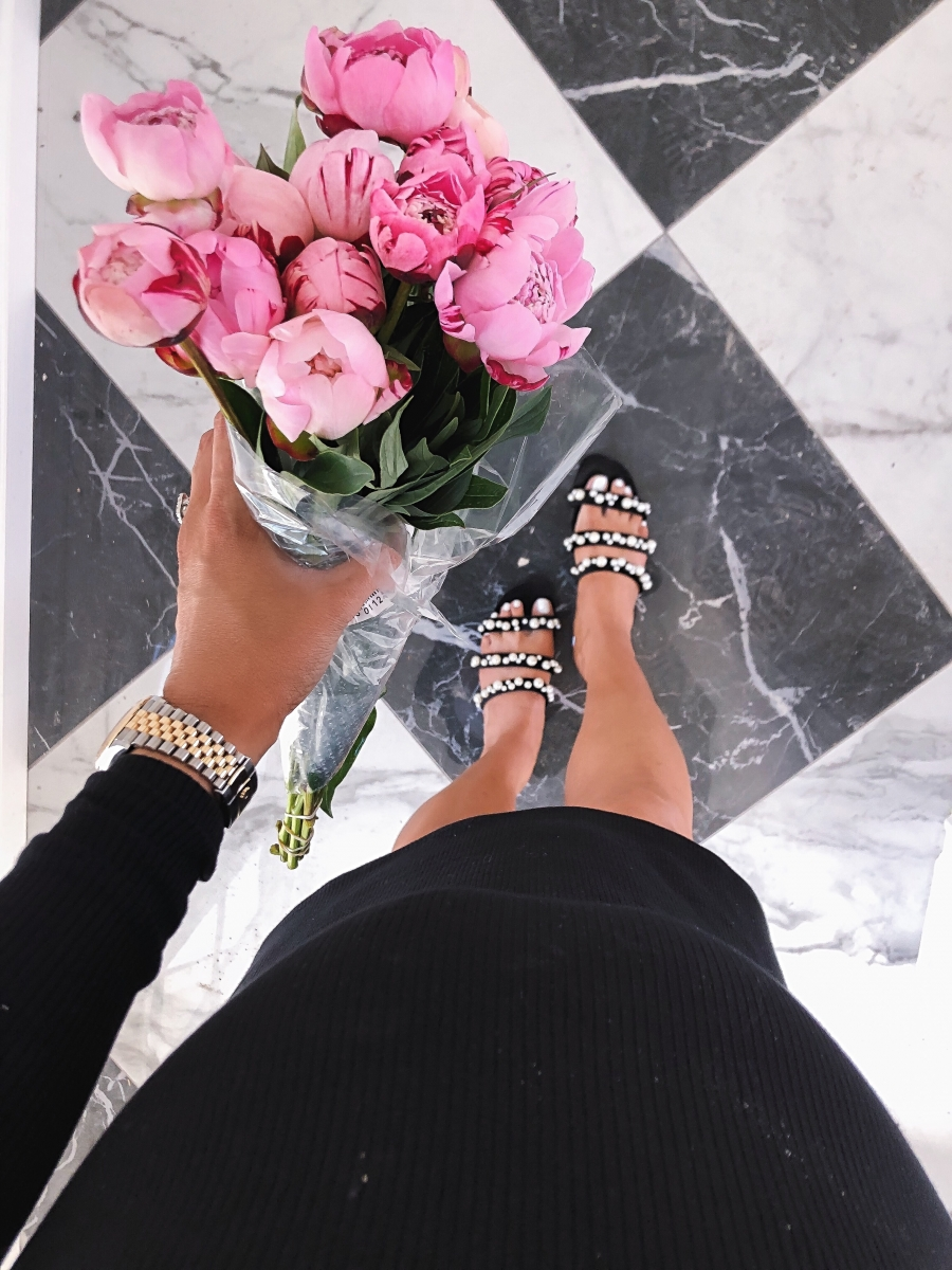 pearl embellished sandals, Emily gemma instagram, Emily gemma new house, black and white marble floors