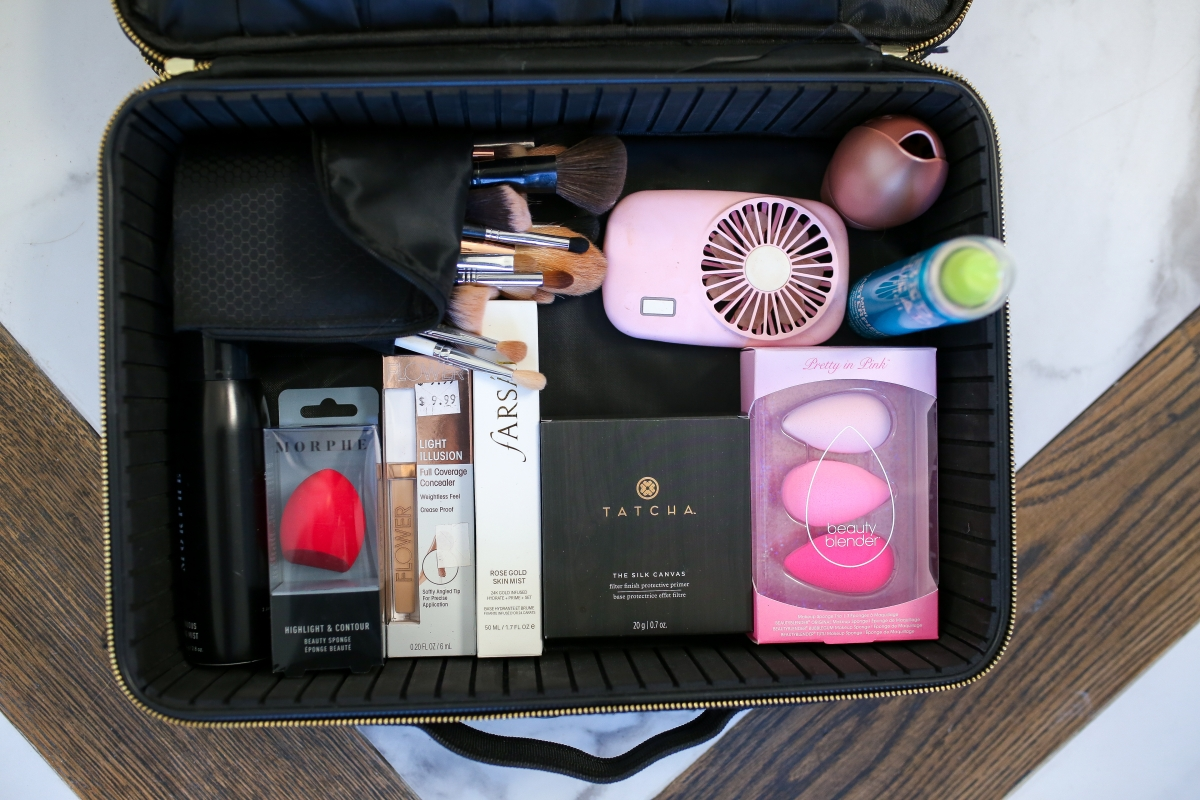 Emily ann gemma pink fan, amazon prime must haves, makeup travel carrier, the sweetest thing blog amazon prime finds