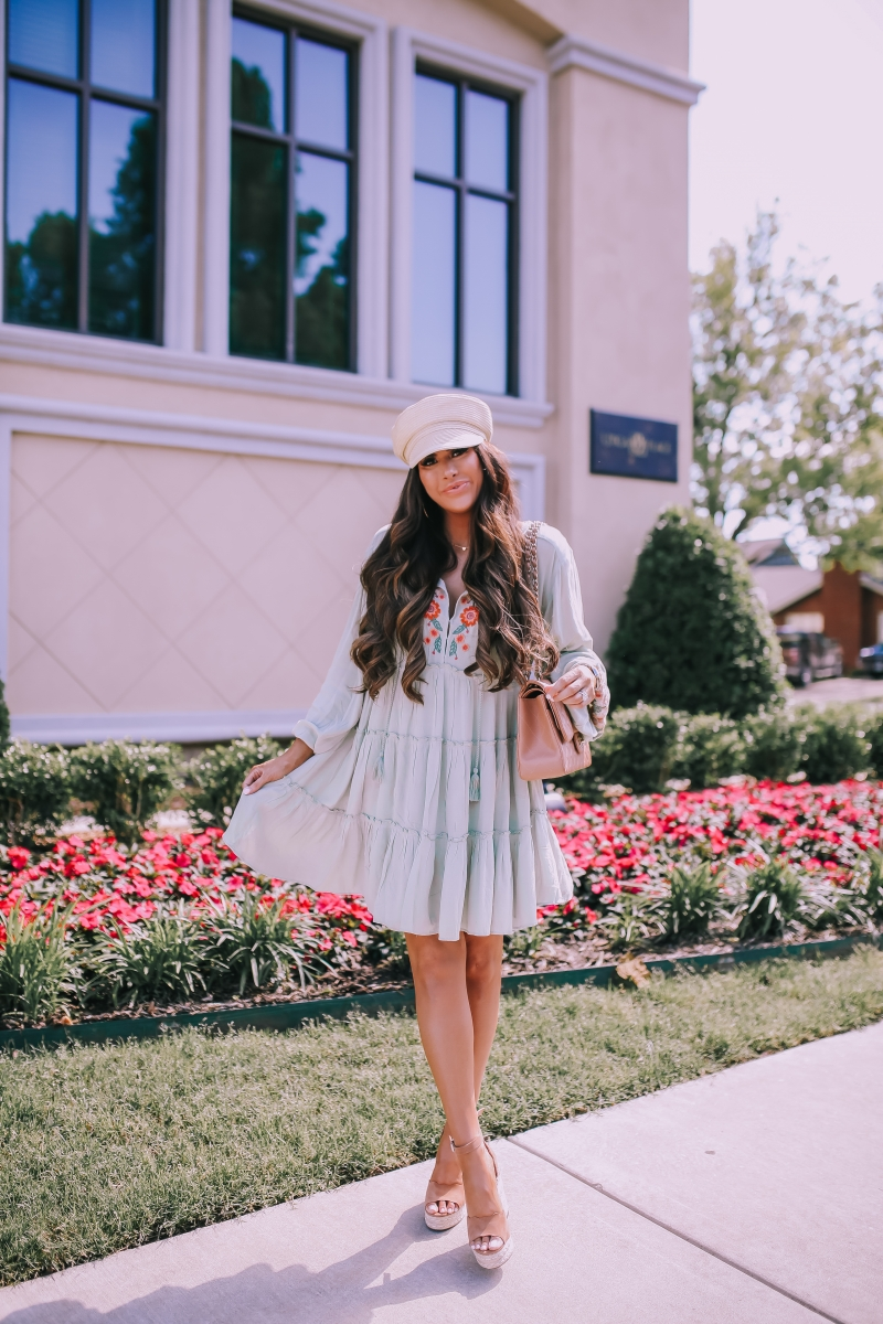 pinterest spring fashion 2019, free people dess embroidered, straw cadet cap, emily ann gemma blog, chanel classic jumbo beige, spring fashion 2019 bloggers-2