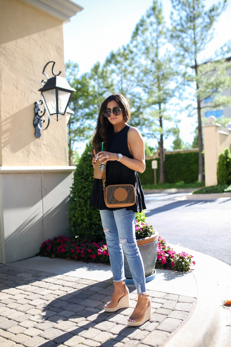 fendi camera bag, spring fashion 2019 pinterest, gucci dupe sunglasses, chloe dupe wedges, cute affordable high waisted jeans with raw hem, #fpme, emily ann gemma