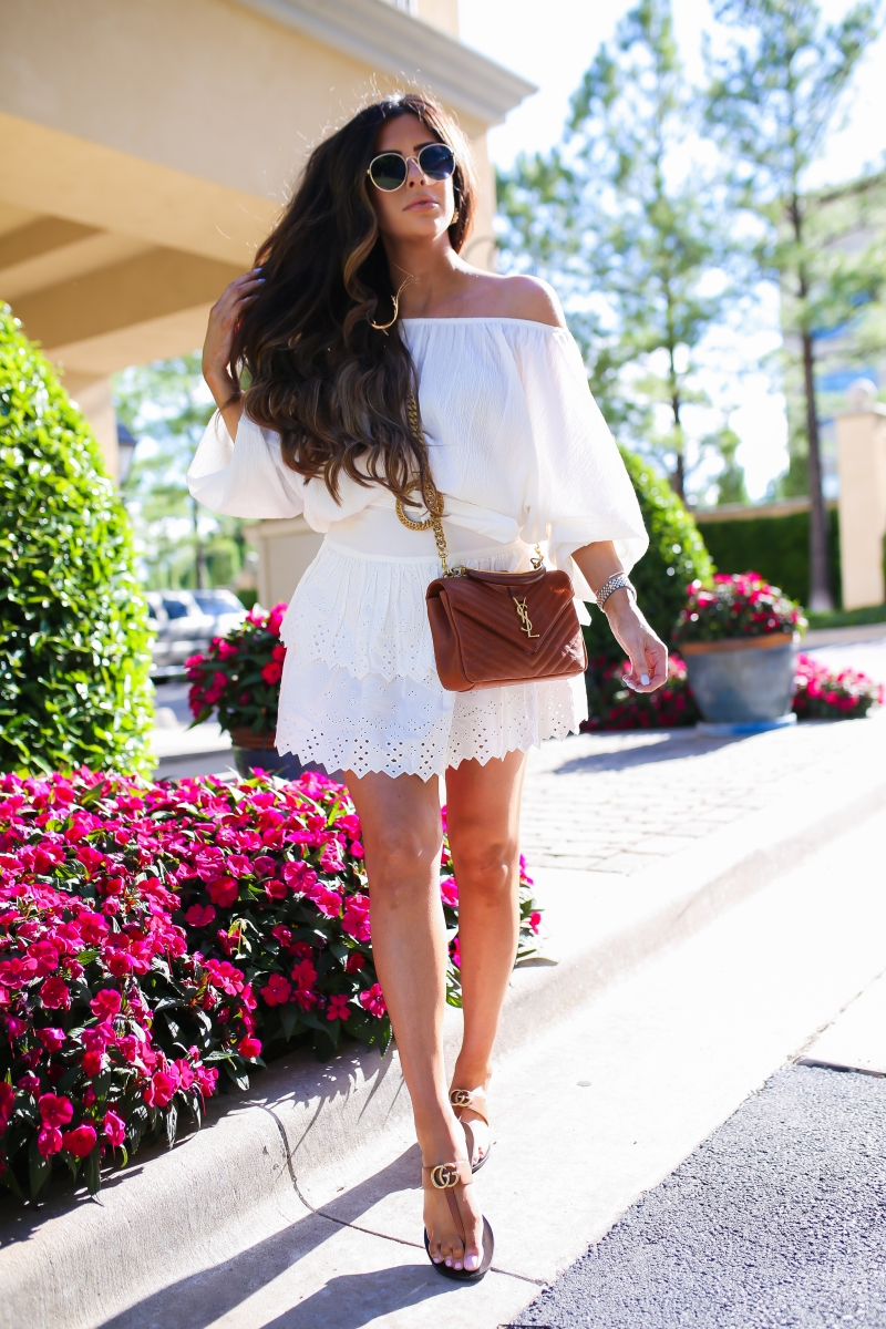 emily ann gemma, the sweetest thing blog, white eyelet ruffle skirt, summer outfit pinterest 2019 fashion, gucci sandals, YSL tan gold college-9