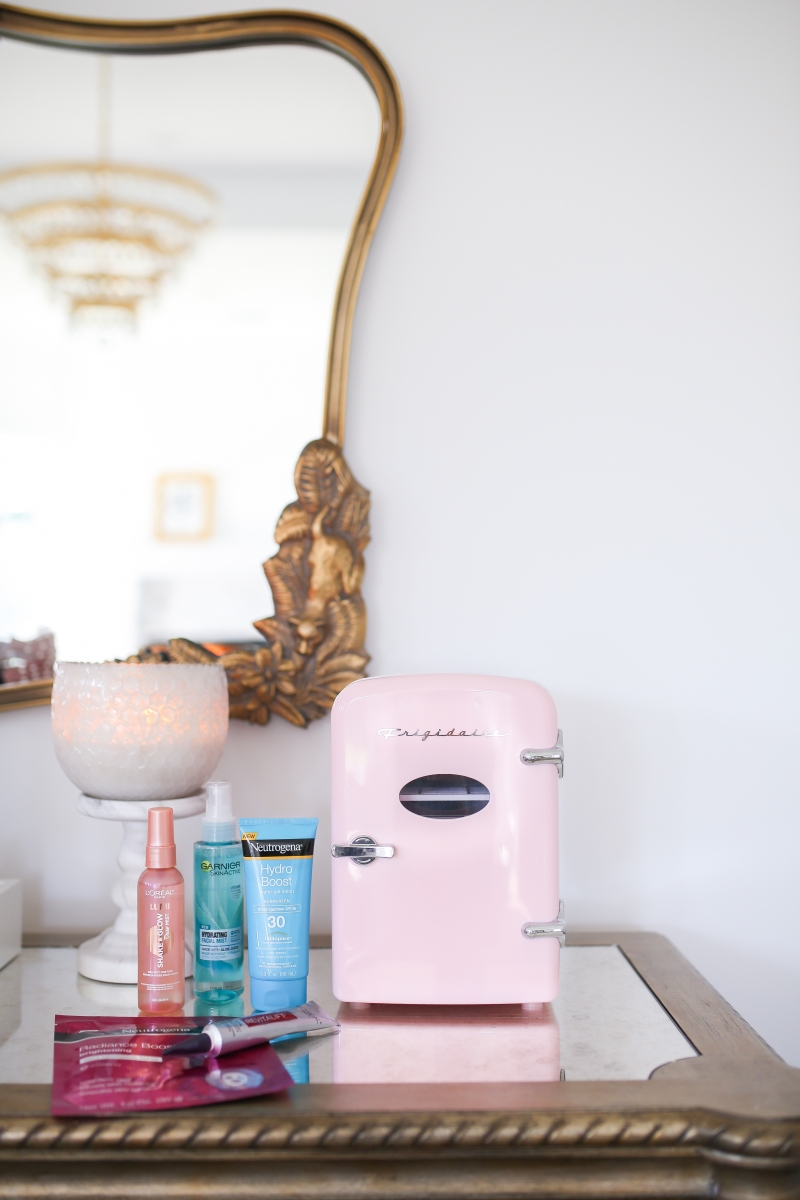 skincare fridge, mini fridge skincare, frigidaire pink mini fridge, emily ann gemma, walmart beauty, beauty blogger-4